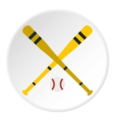 Baseball bat and ball icon flat style vector image