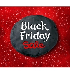 Black friday lettering and plasticine round banner vector