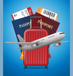 business trip banner with passport tickets vector image vector image