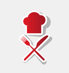 chef with knife and fork sign new year vector image vector image