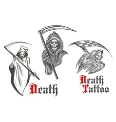 Death tattoo design with sketched grim reapers vector image vector image