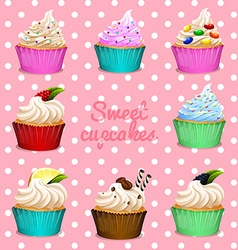 Different design of cupcakes vector image vector image