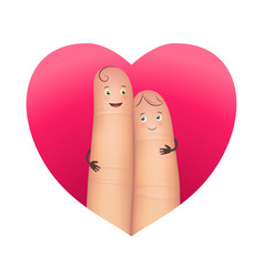 finger couple in red heart vector image