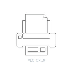Flat line computer part icon - printer vector