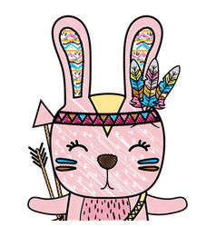 Grated cute rabbit animal with arrows and feathers vector