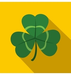Green shamrock three leaf clover icon flat style vector image vector image