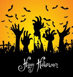 Halloween landscape with tree graveyard and name vector image vector image