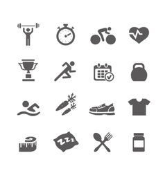 Health and fitness icons set with a vector