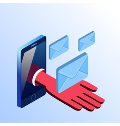 Isometric smartphone showing hand with envelopes vector image