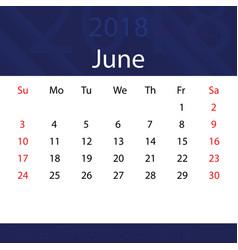June 2018 calendar popular blue premium for vector