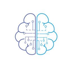 line anatomy brain with circuits digital vector image