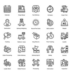 Logistic delivery icons set 6 vector