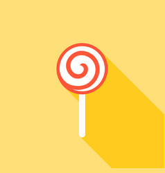 lollipop icon with long shadow flat design vector image vector image