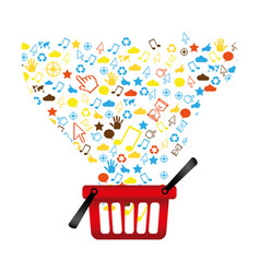 market basket with technological icon vector image vector image