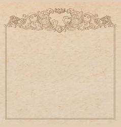 paper cardboard with vintage frame vector image vector image