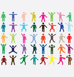 Pictogram people in different colors vector image vector image