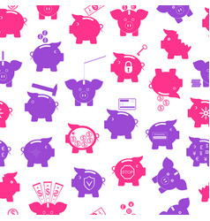 piggy seamless pattern background vector image