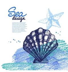 Seashell background Sea nautical design vector image