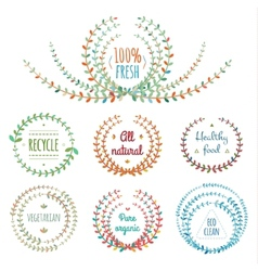 Set of floral design elements vector