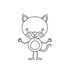 Sketch contour caricature of cute kitten vector