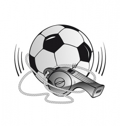 soccer ball and whistle vector image vector image