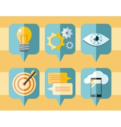 Speech bubble icon set of business elements vector image vector image