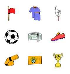 stadium icons set cartoon style vector image