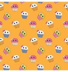 Sweet tasty cupcake seamless pattern vector