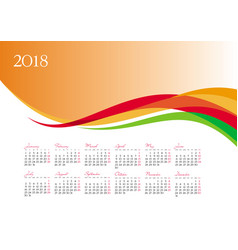 Template of 2018 calendar on orange background vector