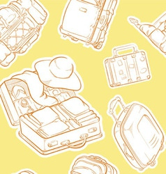 Travel Suitcase Bag Sketch Seamless Pattern vector image