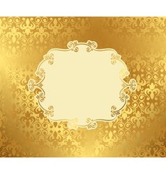 Vintage frame on damask background golden vector