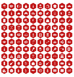 100 restaurant icons hexagon red vector