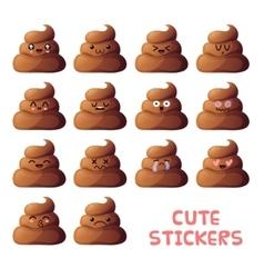Cute poops set vector image