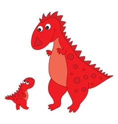 Cartoon dinosaur with baby vector