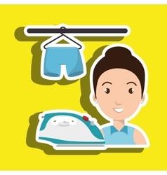 woman cartoon ironing hang pants vector image