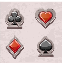Card suit poker icons stone texture vector