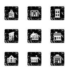 Habitation icons set grunge style vector