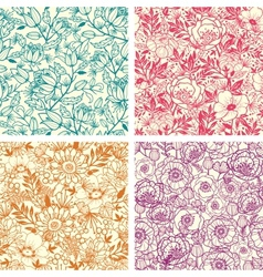 Set of four floral line art seamless pattern vector