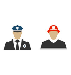 Police officer and firefighter flat icon vector