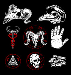 Hand drawn esoteric symbols and occult attributes vector
