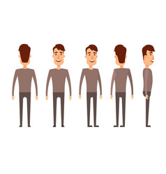 Set of male characters man boy person user vector