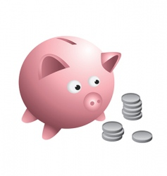 Piggy bank coins vector