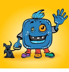 blue monster with dog vector image