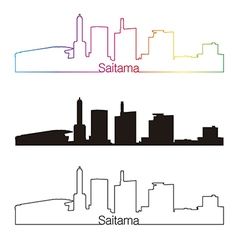 Saitama skyline linear style with rainbow vector