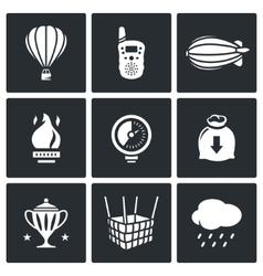 Aeronautics icons set vector