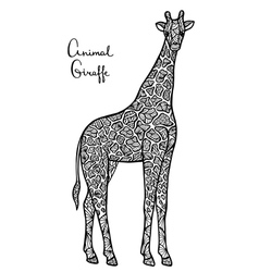 Stylized giraffe zentangle isolated on white vector