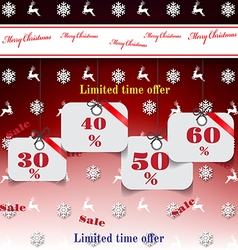 Christmas sale background red background vector image