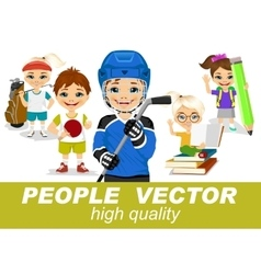 people with children s characters vector image