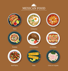 Set of mexican food flat design vector