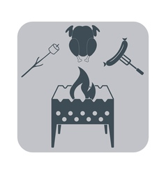 Brazier zephyr chicen and sausage icon vector
